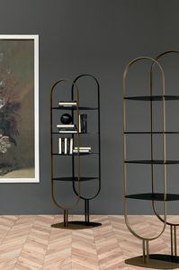 SAND, Bücherregal mit zweifarbiger Struktur und bemalten Regalen