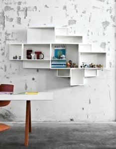 SheLLf, Bibliothek mit Behältern unterschiedlicher Größe, in Laminat