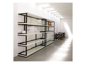Sipario, Bücherregal aus Massivholz, lackiert Regale