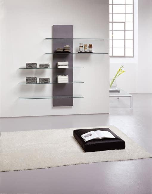 Slide bookcase, Bibliothek in Metall und Laminat, mit Glasb�den