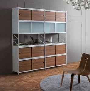 Socrate Bücherregal, Bücherregal aus Metall, für Büro und moderne Häuser