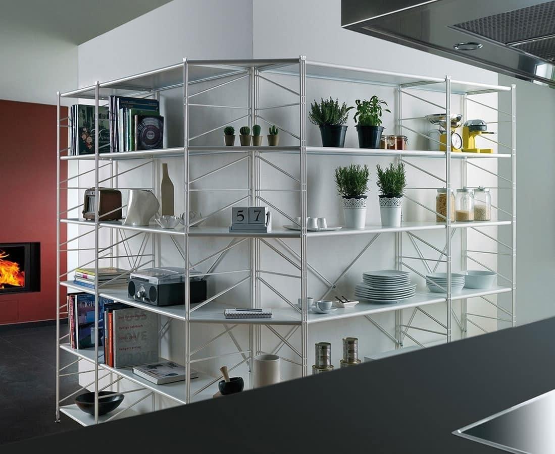 Socrate, Bücherregal aus Metall mit gehärtetem Glas Regale