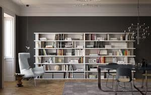 Spazioteca SP028, Freistehendes Bücherregal ideal für moderne Umgebungen