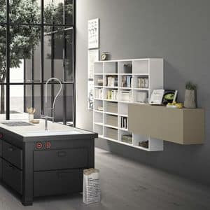 Spazioteca SP019, Modulares Bücherregal aus Holz, nach Maß, für das Büro