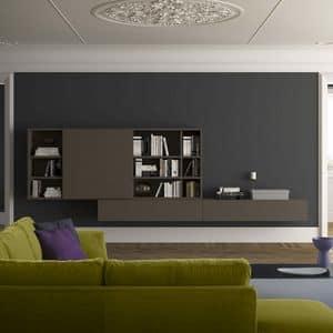 Spazioteca SP024, Moderne Wandbücherregal aus Holz, im modernen Stil