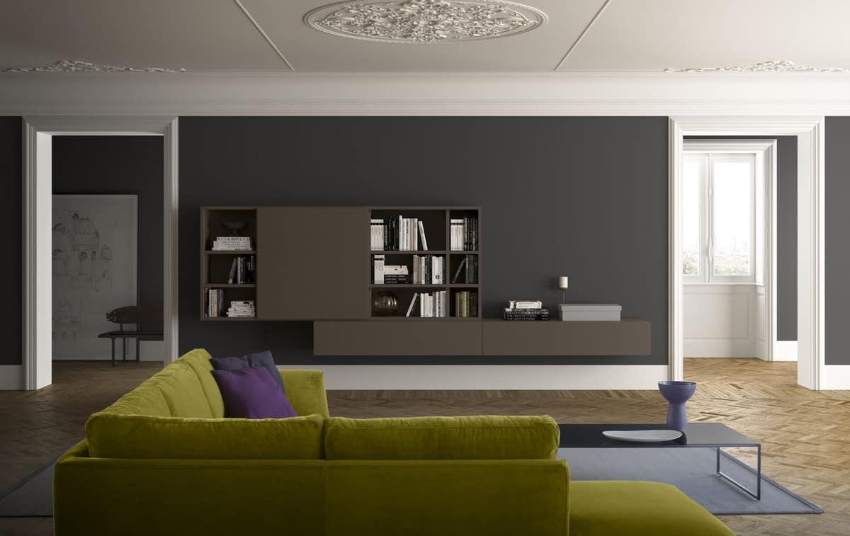Moderne Wandbücherregal aus Holz, im modernen Stil | IDFdesign