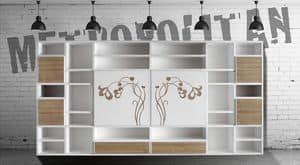 ST 60, Modernes Bücherregal mit Schiebetüren und Blumendekorationen