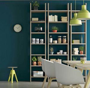 Step – Mood 4, Bücherregal aus Holz mit minimalistischem Design