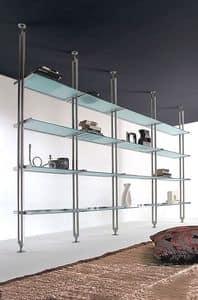 Tangram, Bücherregal aus lackiertem Metall, mit Glasböden