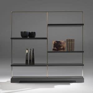 Tao bookcase 2, Bibliothek in Stahl und laminiert, mit Glasb�den