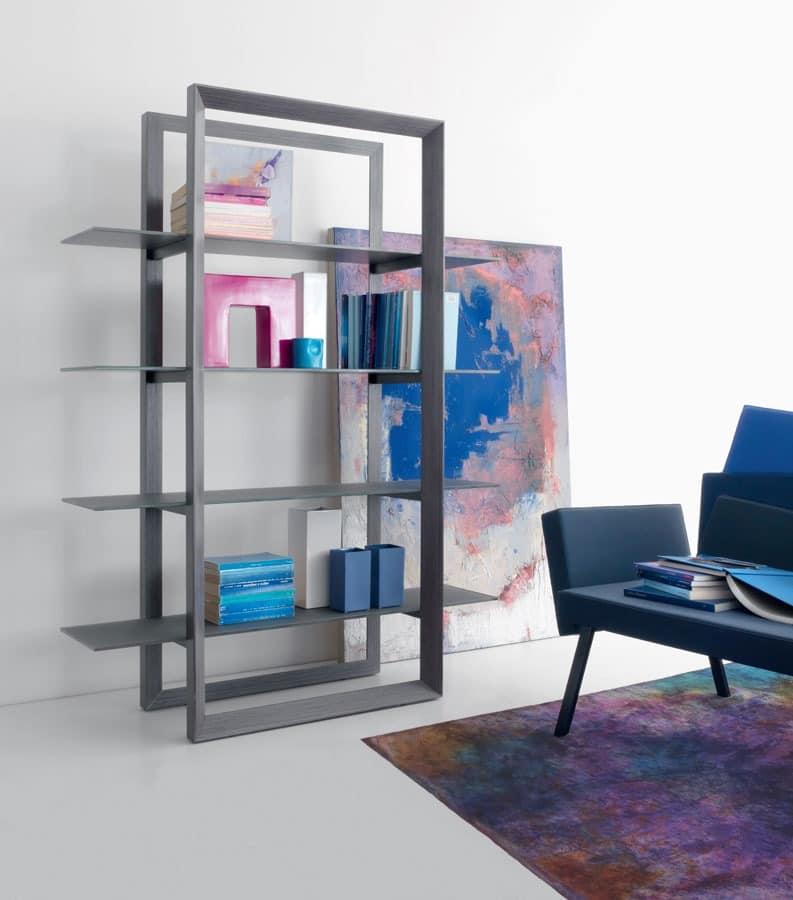 Upper 504, Bibliothek in Eiche furniert, Glasb�den, f�r Arbeitszimmer