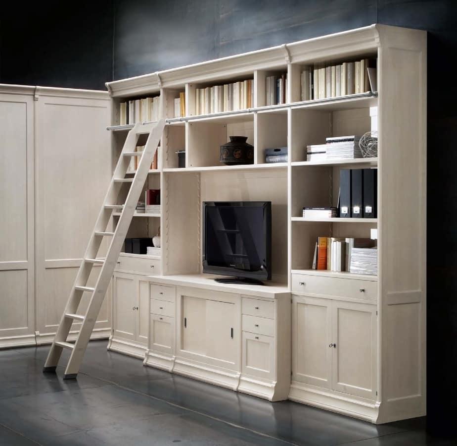 b cherregal mit tv fach und leiter f r wohnzimmer idfdesign. Black Bedroom Furniture Sets. Home Design Ideas