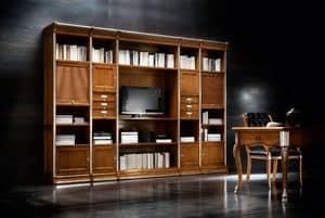 Victoria Art. 03.007, Bücherregal mit silbernen Blattdekorationen, gebildet in der Kirsche