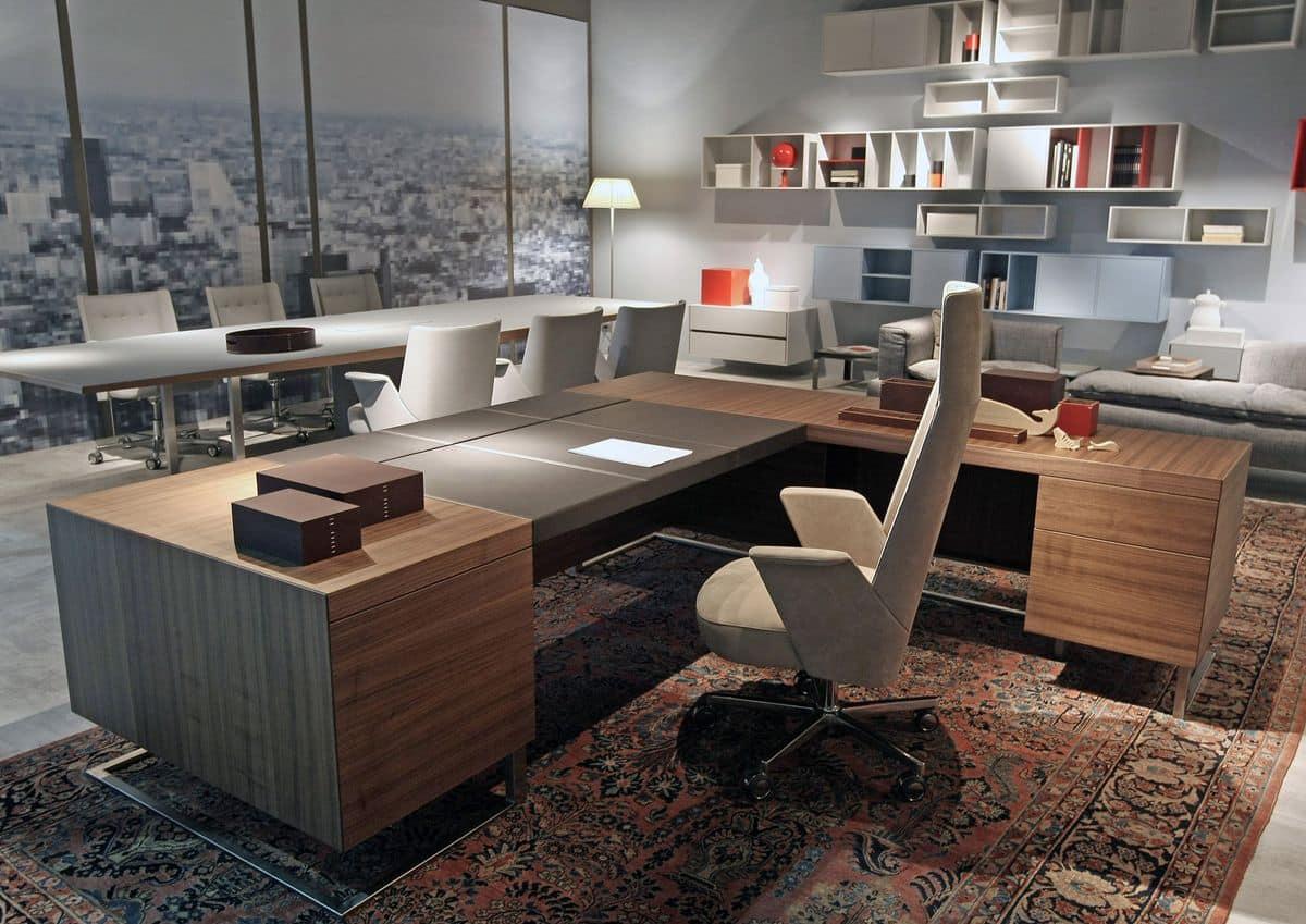 Grosser büro schreibtisch  Großer Schreibtisch, Holz und Metall, ideal für Chefbüro | IDFdesign