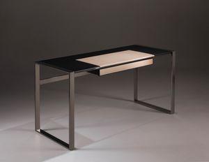 Desk Eiche und Leder, Design-Schreibtisch mit Holz- und Lederplatte