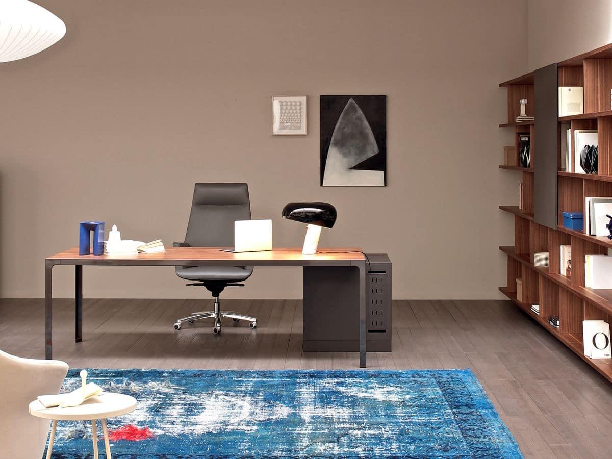 moderne chefschreibtische metall holz top idfdesign. Black Bedroom Furniture Sets. Home Design Ideas