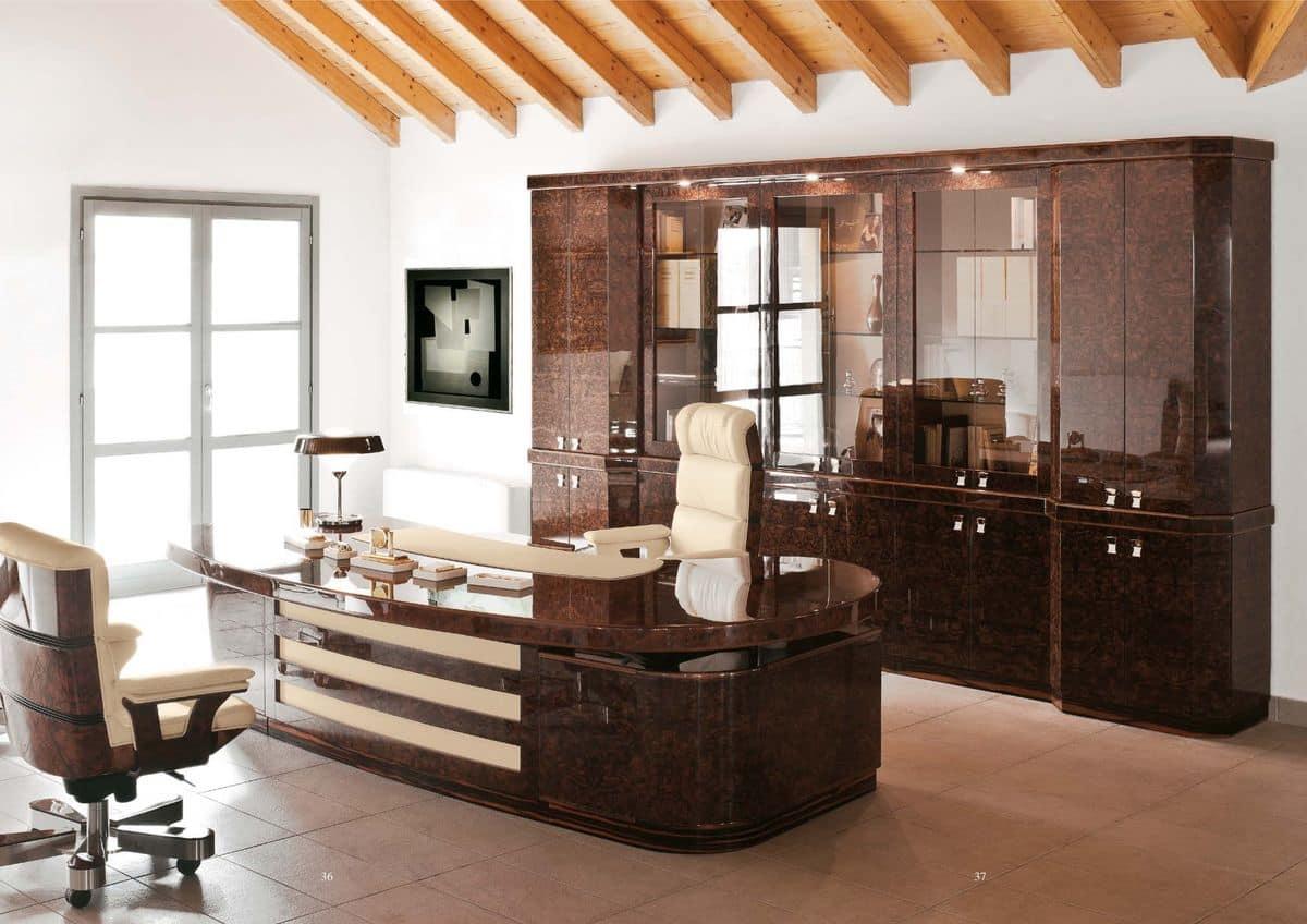 Büromöbel in feinen Bruyereholz mit klassischen Stil   IDFdesign