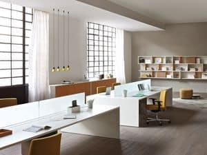 Loop In task desk 4, Vier-User-Schreibtisch für Büro, modulare Bürotische