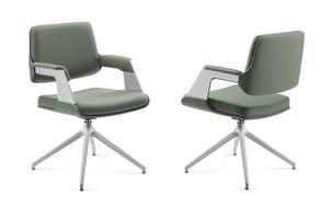 OMNIA, Gepolsterter Sessel mit Sockel aus lackiertem Aluminium, für das Büro