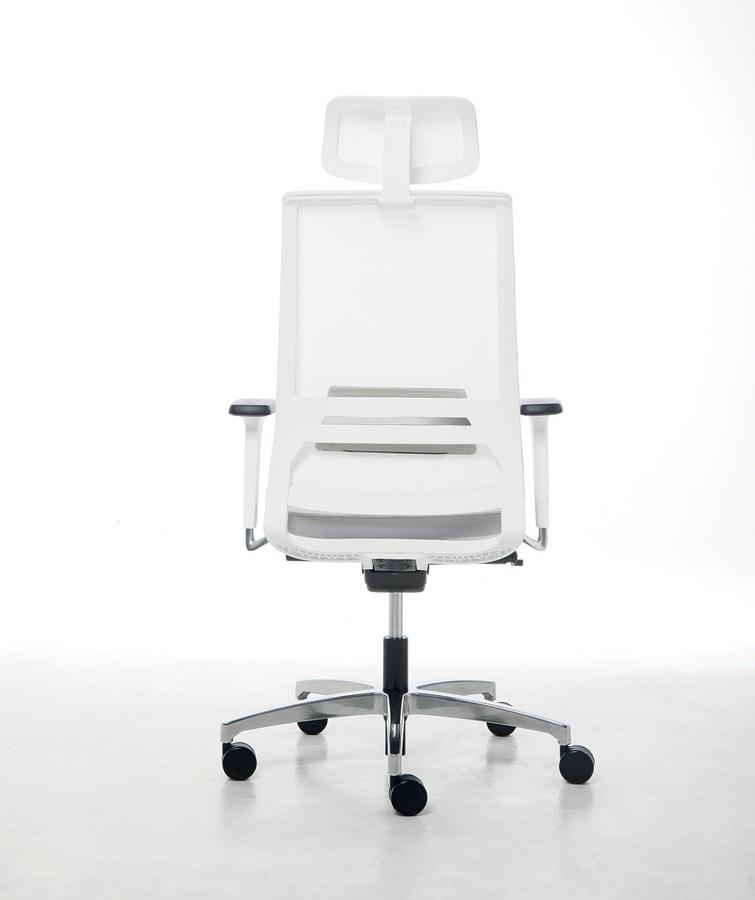 Logica White 01 PT, Arbeitsstuhl mit weißer Struktur