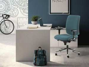 LULÙ / LULÙ SILVER, Bürostuhl mit verstellbaren Armlehnen, Basis aus Stahl
