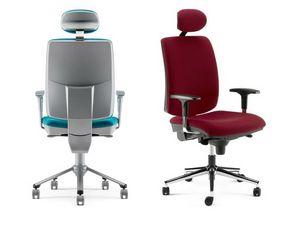 LULÙ / LULÙ SILVER, Bürostuhl mit Kopfstütze, schwarz und silbernen Kunststoffoberflächen