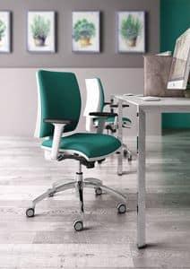 Sprint W, Eleganter Aufgabe Bürostuhl, mit weißem Finish