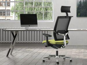 TECNA, Bürostuhl mit Netzrücken, Kopfstütze, Aluminiumstütze