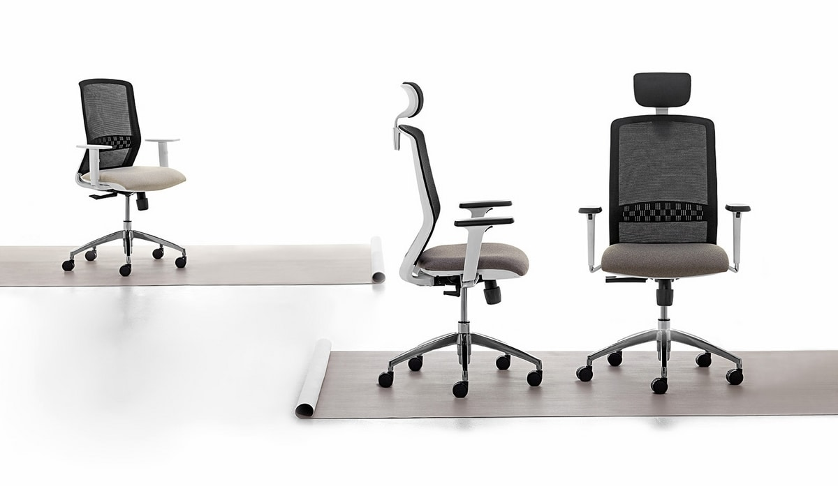 Tekna White 01 PT, Aufgabenbürostuhl mit weißer Struktur