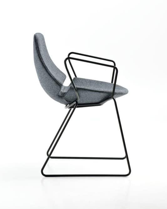 Eon con braccioli, Stuhl mit Kufen, gepolstert, für Wartezimmer