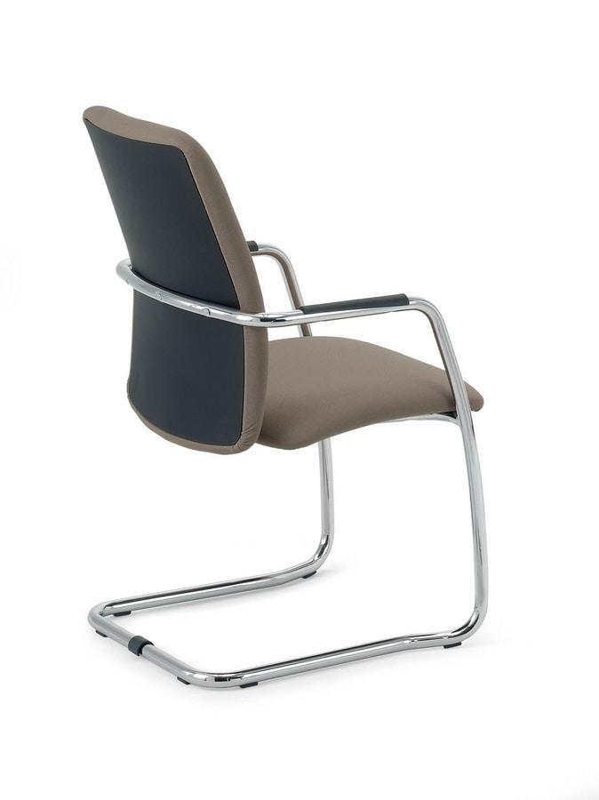 UF 137 S, Stuhl mit Schlitten gepolstert, mit eleganten Nähten