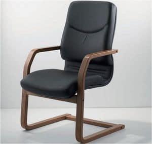 UF 531 / S - WOOD, Stuhl auf Kufen mit Holzrahmen und Sitz gepolstert ideal für Chef