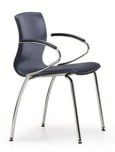 WEBTOP 389, Stuhl in der Schale Metall und Buchenholz mit Leder bezogen
