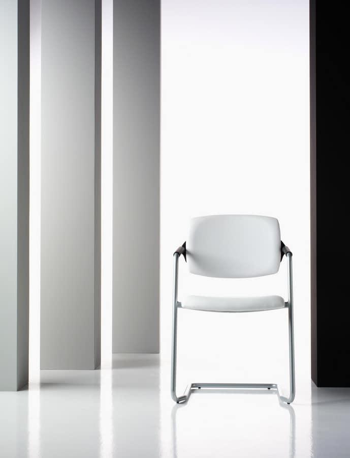 Ariel, Besucherstuhl, gepolstert, in Aluminium, für das Büro