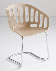 Basket Chair CTL, Besucherstuhl, Metallsockel, Technopolymer Schale