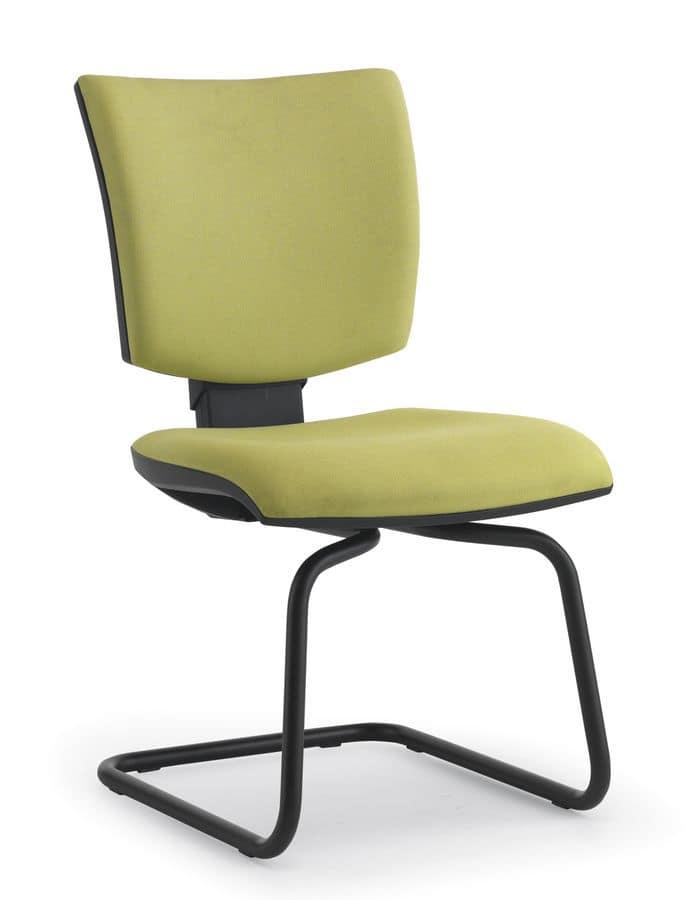 Pole 03, Stuhl gepolstert Besucher, Stahlrohr, für Büros