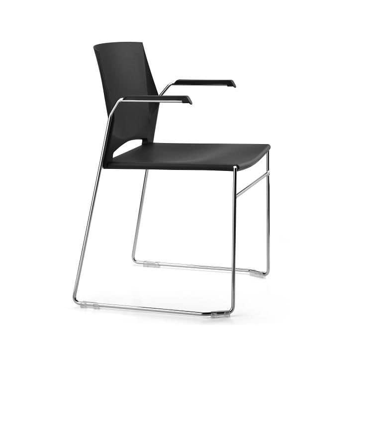 Stuhl Mit Kufen Und Arme Sitz Und R Cken Kunststoff