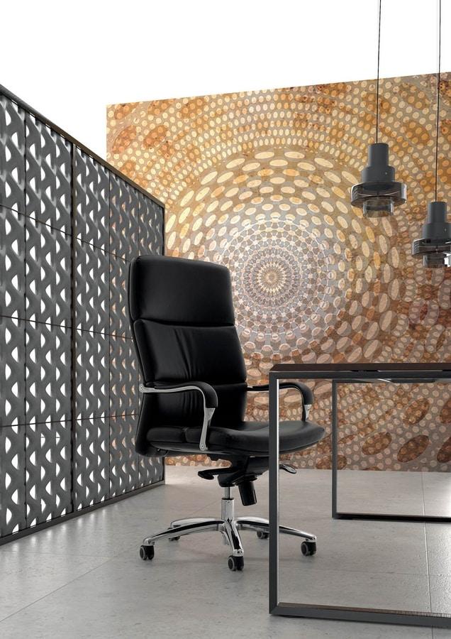 UF 577 / A, Stuhl mit Rollen für Büro, der gepolsterte Sitz