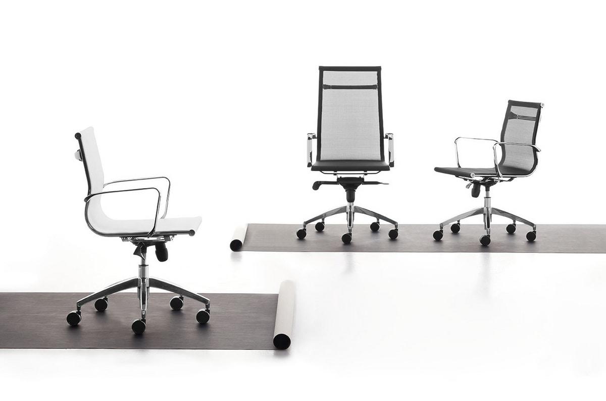 Wind 01, Bürostuhl mit Rollen, Netzselbsttragende Abdeckung
