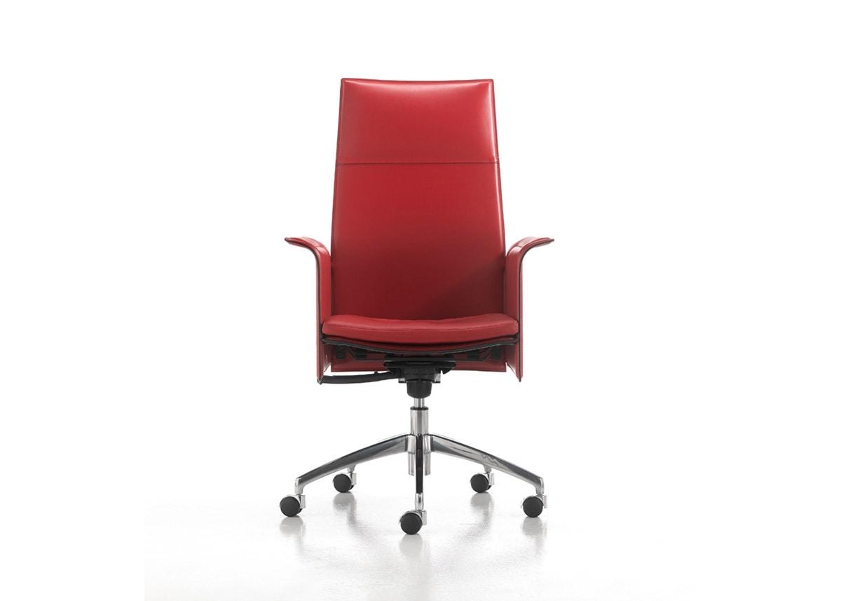 519 Chaise De Bureau Avec Dossier Haut En Cuir