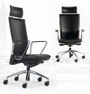 Kelly-PA, Lederstuhl für Büro, auf Rollen