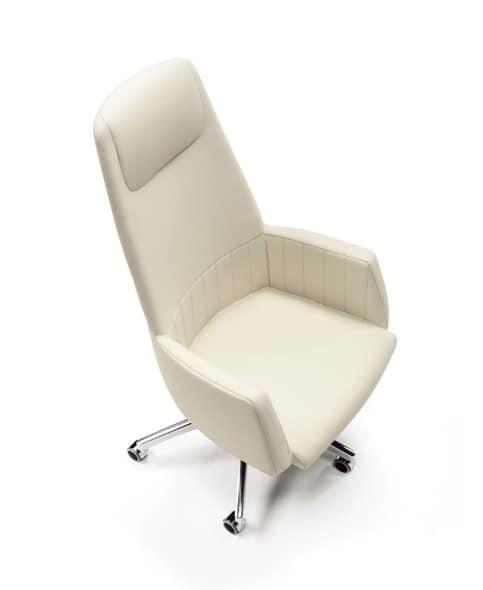 Tulip presidential, Komfortable Bürostühle, Lederbezug, für moderne Büro geeignet