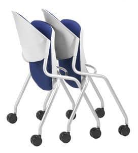 NESTING DELFI 088 R S, Stuhl mit klappbarer gepolsterter Sitz, Beine mit Rädern