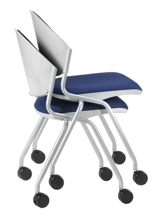 Stuhl mit klappbarer gepolsterter Sitz, Beine mit Rädern | IDFdesign