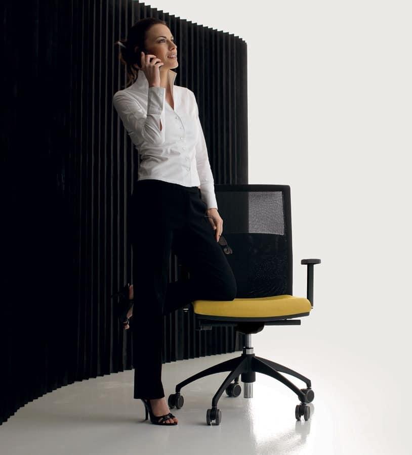LA MESH, Drehstuhl für Büro mit Rädern, Netzrücken