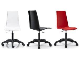 Mannequin mit Rädern, Schwenker und verstellbarer Stuhl für Büro, Polypropylenschale