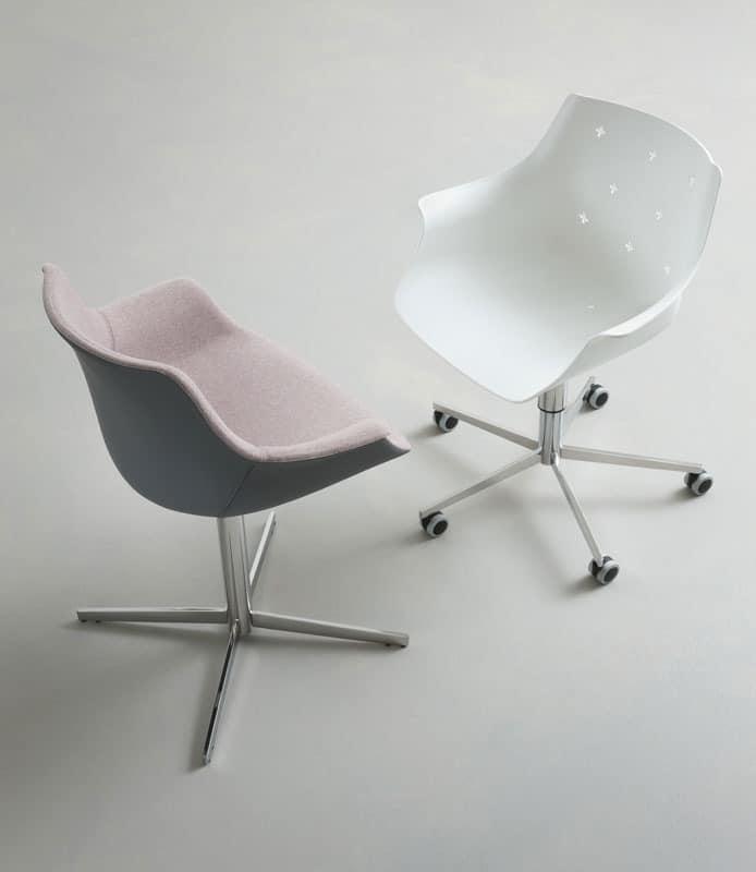 More 5R, Design verstellbarer Stuhl, mit Rädern, Polymerhülle