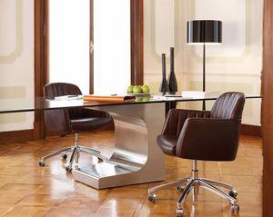 Tulip task, Bürodrehstuhl aus Leder mit Chromrädern gemacht