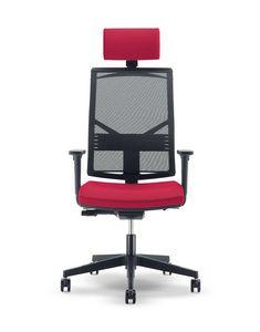 UF 430 / A, Solide und leise Stuhl für Büro, mit quadratischen Linien