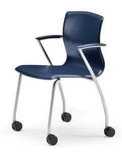 WEBTOP 384 R, Metallstuhl mit Rollen, Sitz in Leder bezogen